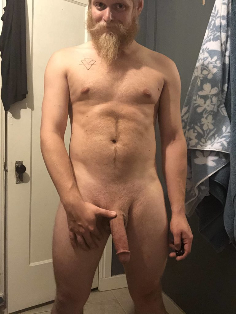 Blonde, Bearded Gay Holding his Dick